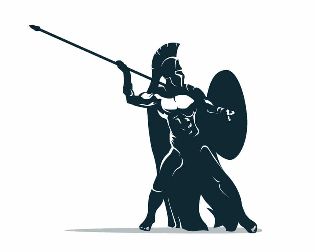 Spartan warrior stylized illustration. Warrior throws javelin. Silueta de guerrero.